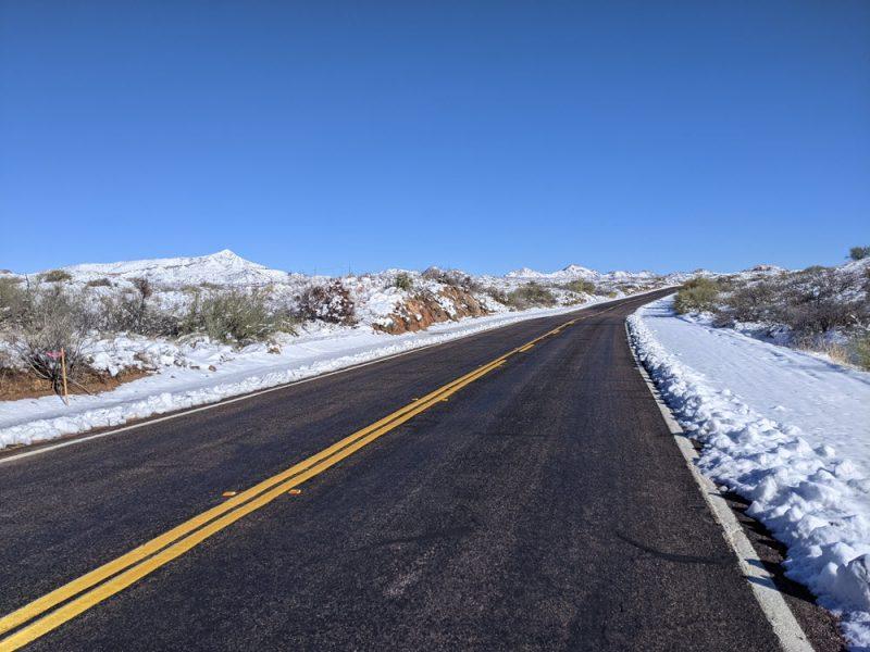 Snow in the desert is always neat, it didn't last long.